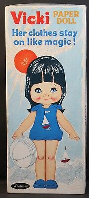 Vintage Paper Dolls: REDUCED Vicki Paper Doll 1966 Original Box Stay-On Clothes