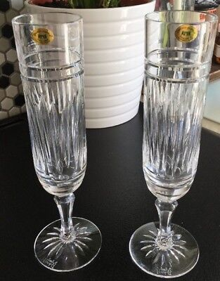 2 Beautiful Tyrone Crystal Champagne Flutes