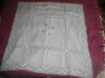 """Stunning Vintage White Linen Lefkara Embroidered/cut Work Tablecloth  38"""" X 37"""""""