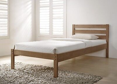 Eco Modern Wood Bed Frame In Oak Finish 4FT6 Double 5FT King Size