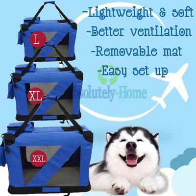 L/XL/XXL Pet Soft Crate Portable Dog Cat Carrier Travel Cage Kennel Foldable AU