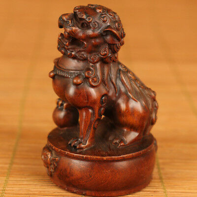 Rare chinese old boxwood hand carving leo statue figure home decoration