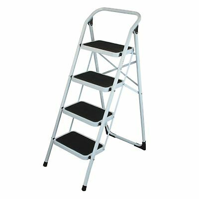 Simpa White 4-Step Steel Ladder Folding Portable Ladder with Non Slip Step Mats