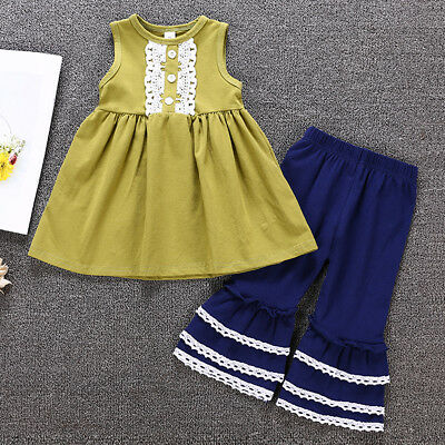 2PCS Toddler Kids Baby Girls Clothes T-shirt Tops Dress+Ruffle Pants Outfits Set