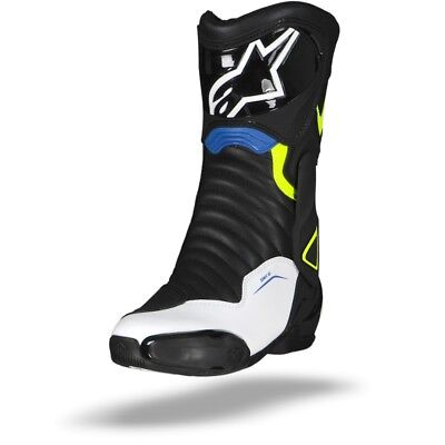 Alpinestars Smx-6 V2 Motorcycle Boots Black White Fluo Yellow Blue - New!
