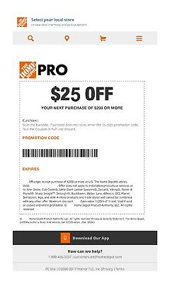 One (1x) Home Depot $25 off $200Coupon In-Store Only-----