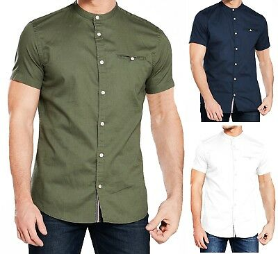 JACK & JONES Greg Grandad Collar Short Sleeve Shirt Linen Men Cotton Slim Shirts