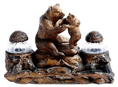 Antique Hand Carved Black Forest Bears Inkstand 19th Century