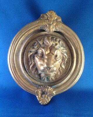 Antique Vintage Large Heavy Solid Brass Lion Face Door Knocker