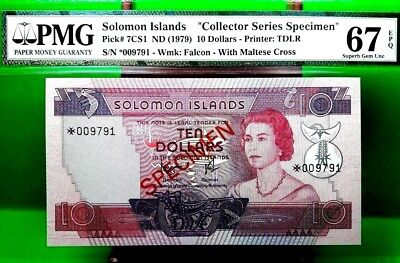 Money Solomon Islands 10 Dollars Nd 1979 Specimen Pmg  Gem Unc Pick #7Cs1