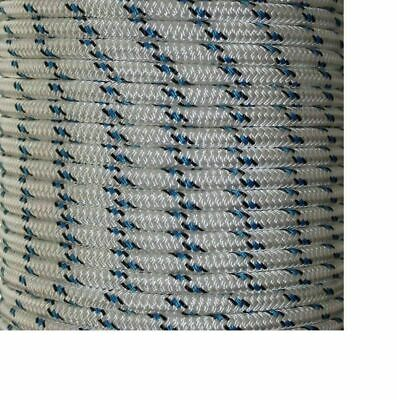 30m x 6mm White GREEN  Rope - Double Braid Polyester for Yacht Boat & Marine