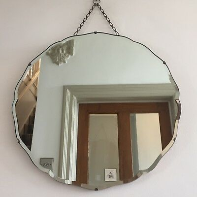 Round Vintage Frameless Mirror Bevelled Edge Circular Original Chain Scandi 50cm