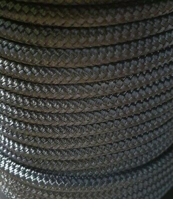 6MM Double Braided Rope Polyester Yacht Rope 30MTS Solid Black 30m