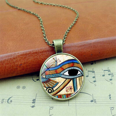 Retro 1Pc Egyptian EYE OF HORUS Alloy Chain Silver Bronze Pendant Necklace