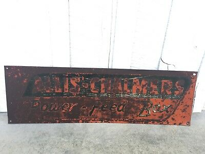 Vintage Allis Chalmers Power Feed Box Sign Barn Wall Hanger Implement Garage