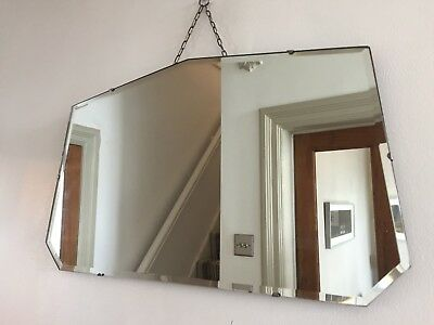 Vintage Frameless Fan Mirror Bevelled Edge Art Deco 1940s Original Chain 65x38cm
