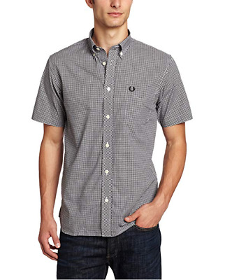 Fred Perry Gingham Short Sleeve Shirt/Black - Small WAS £65.00 SALE