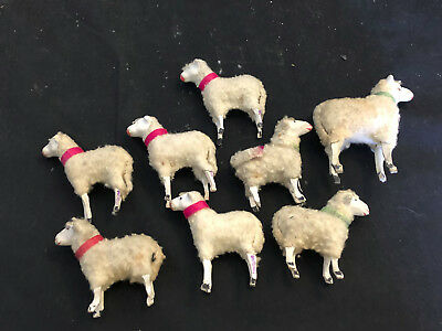 Vtg Lot Of 8  Hand Painted Putz? Germany Christmas Wooly Sheep Wood Stick Legs