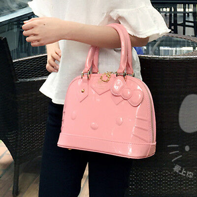 HelloKitty Lady Patent Leather Hand Shoulder Bag Clutch Purse Handbag Party  Tote 956db951dd60e