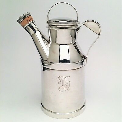 Vintage 1930's Art Deco Reed and Barton Silver Plated Milk Can Cocktail Shaker