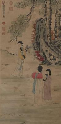 Chinese Old Liu Songnian Scroll Painting Scroll Lady 70.08""