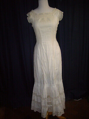Edwardian Vintage Antique 1900s Lawn Lace Dress Victorian Gown sleeveless AS IS