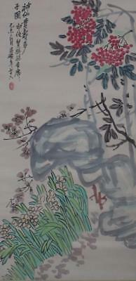 Chinese Old Wu Changshuo Scroll Painting Flowers 82.68""
