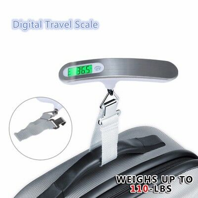 Electronic Digital Luggage Scale Travel 110 lb 50 KG Measures Weight Weighing