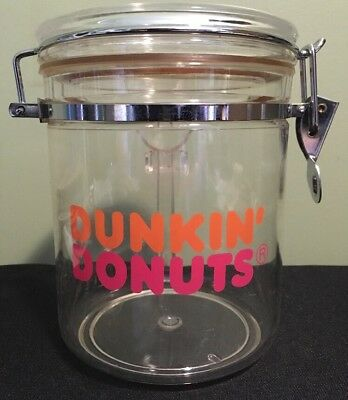 Dunkin Donuts Coffee Clear Canister Logo Sealed Acrylic Counter Top Spoon 50 Oz.