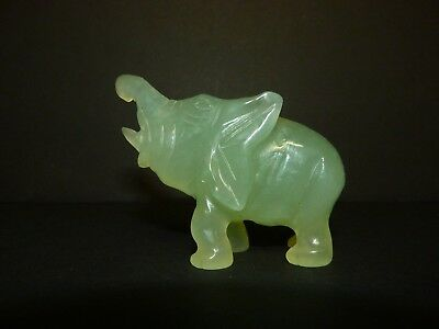 Vintage / Antique Hand Carved Light Green Jade Elephant Figure