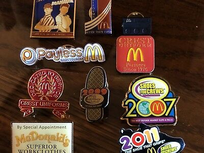 10 McDonald's Uniform and Shoe Supplier Collector Pins