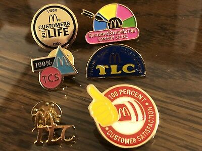 6 McDonald's TLC (Think LIke A Customer)and Customer Satisfaction Collector Pins