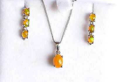 Sterling silver 925 pendant, chain and earrings set faux Opal 3.4g