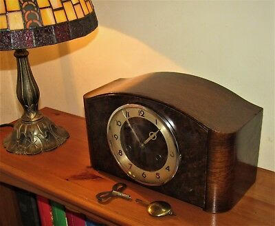 Hamburg American 1930s Art Deco German Striking Mantle Clock. London Transport?