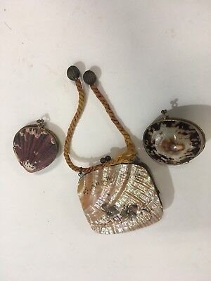 3 Vintage Shell Coin Purses Mother of Pearl (C83)