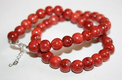 Vintage Art Deco Style Large Red Coral Bead Necklace