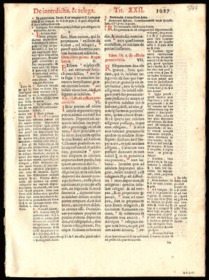 Canon Law 1591 Early Printing Leaf  Roman Emperor Justinian I Catholic