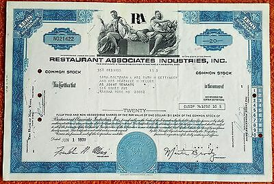 Historisches Wertpapier der Restaurant Associates Industries, Inc.