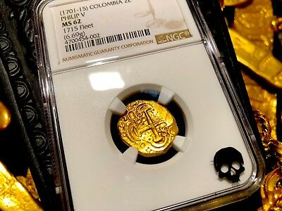"""Colombia 2 Escudos 1701-15 """"1715 Plate Fleet Shipwreck"""" Ngc 62 Pirate Gold Coins"""