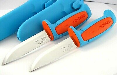 2 pc LOT Mora Morakniv Basic 511 Carbon Steel Knife BLUE/ORANGE LIMITED EDITION
