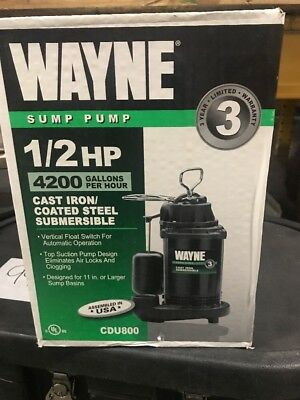 New Wayne Cdu800 Submersible Cast Iron Usa Made 1/2 Hp Water Sump Pump & Switch