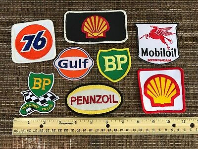 8*pc LOT*GAS & OIL EMBROIDERED PATCH LOT*BP*SHELL*GULF*76*MOBILOIL*PENNZOIL