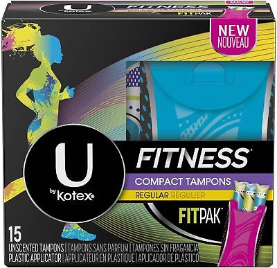 U by Kotex Fitness Compact Tampons, Regular, Unscented,15 ct
