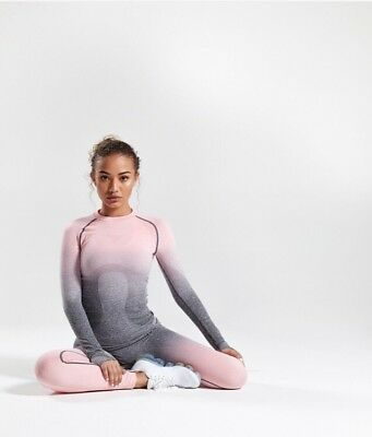 0e3cb793313c56 Ladies Women's GYMSHARK OMBRE SEAMLESS LONG SLEEVE PINK GREY TOP XS EXTRA  SMALL