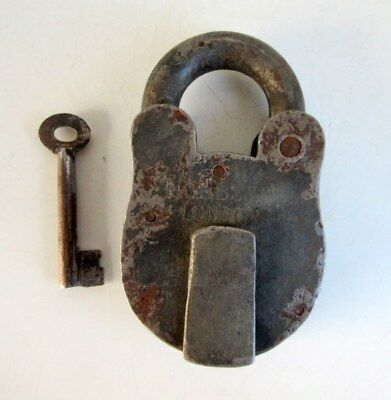 Antique Old Rare Collectible Iron Big Size Hobbs & Co. Heavy Padlock London Made
