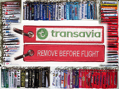 Keyring TRANSAVIA AIRLINES Remove Before Flight tag keychain Pilot Crew