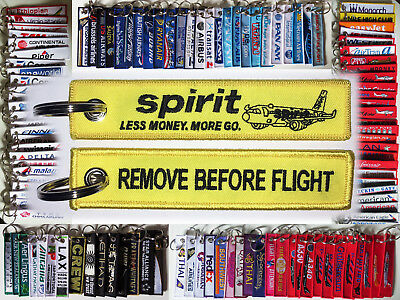 Keyring SPIRIT AIRLINES yellow Remove Before Flight tag keychain Pilot Crew