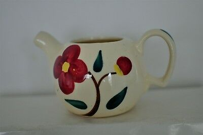 Vintage Pottery Creamer with Red Flowers & Tea Pot shaped