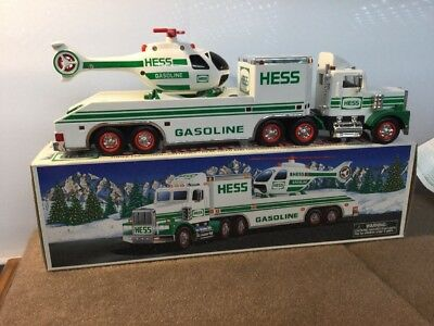 1995  Hess Toy  Truck And Helicopter  No. Box. Pre Owned