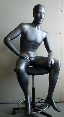 Male Mannequin Full body, sitting pose in Dark Silver
